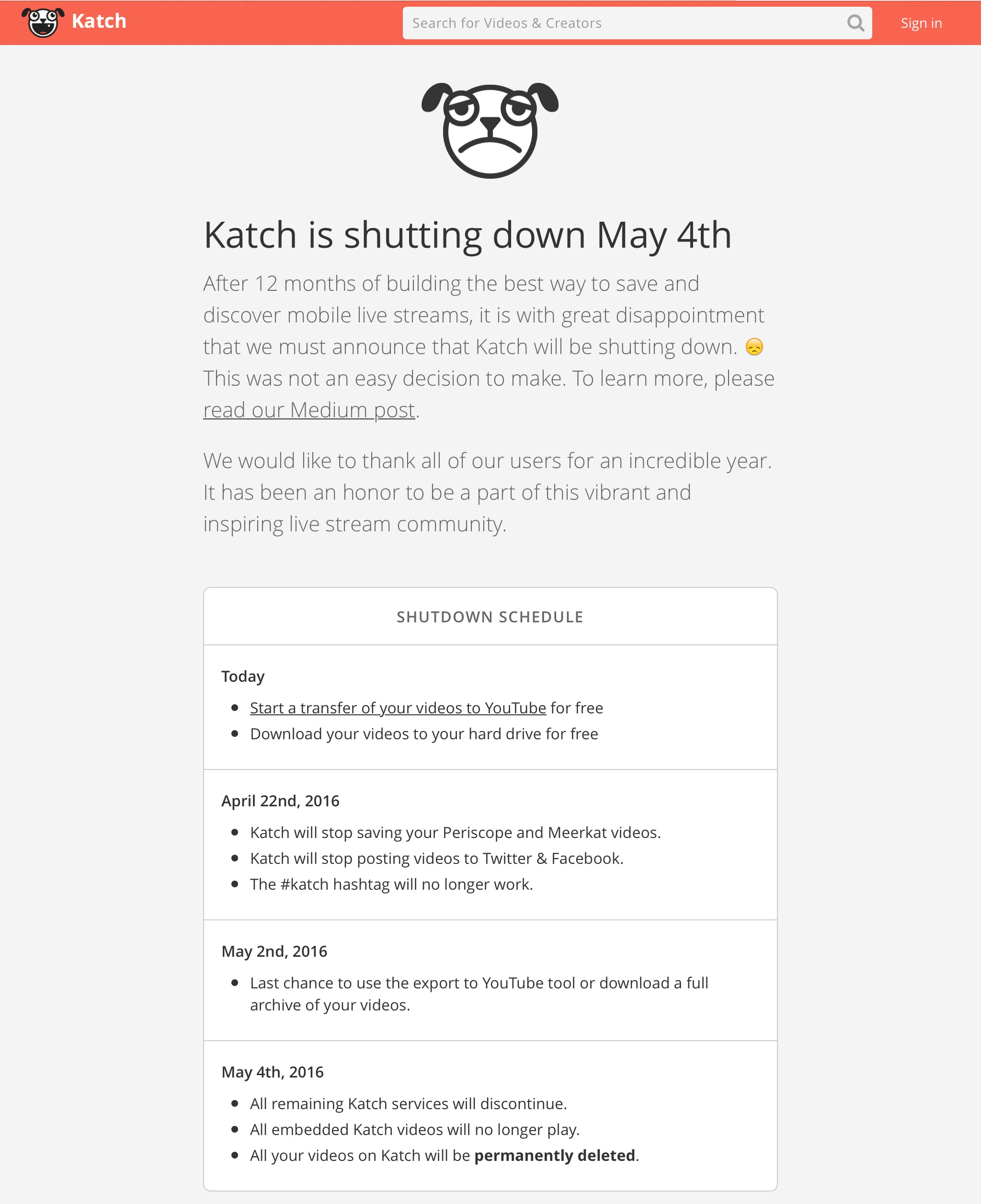 Katch.me is Closing Down